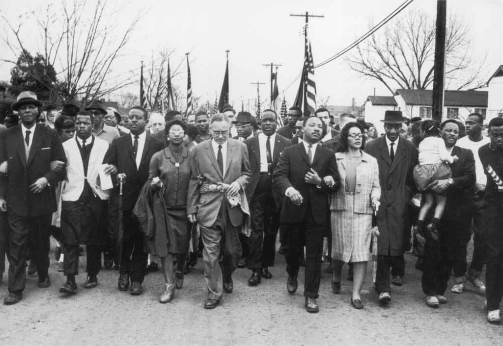 Image of Dr. Martin Luther King, Jr. and allies marching for civil rights