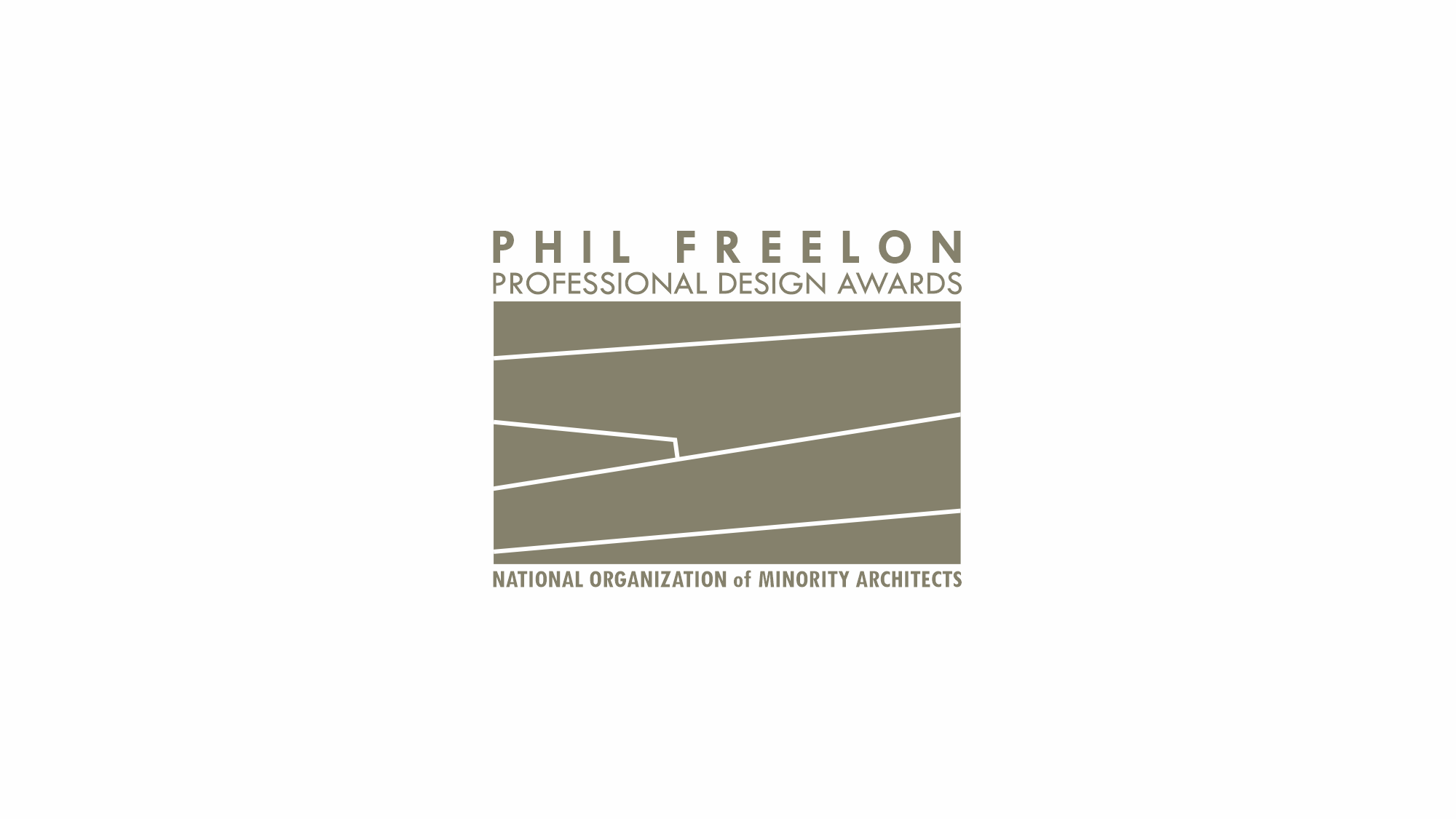 Phil Freelon Professional Design Awards logo - an abstraction of facade elements, five simple lines cutting across a deep beige field